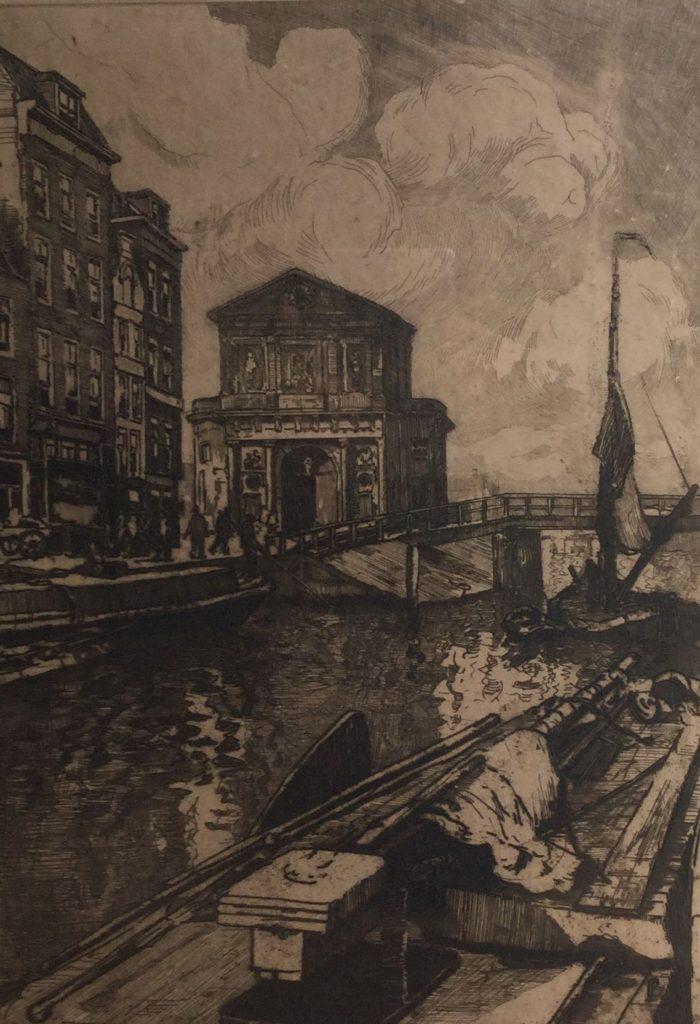 Kunstenaar Jan Sirks C4643-2 Jan Sirks Delftse poort Rotterdam ets op papier, 46 x 33 cm r.o. handgesigneerd
