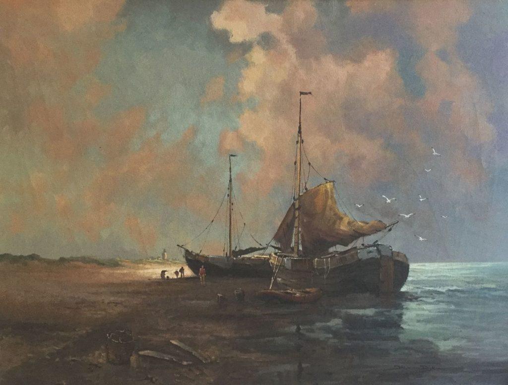 Schilderijen te koop van kunstschilder, Jos van Dijk Bomschuiten op het strand olie op doek, r.o. gesigneerd, Expositie Galerie Wijdemeren Breukeleveen