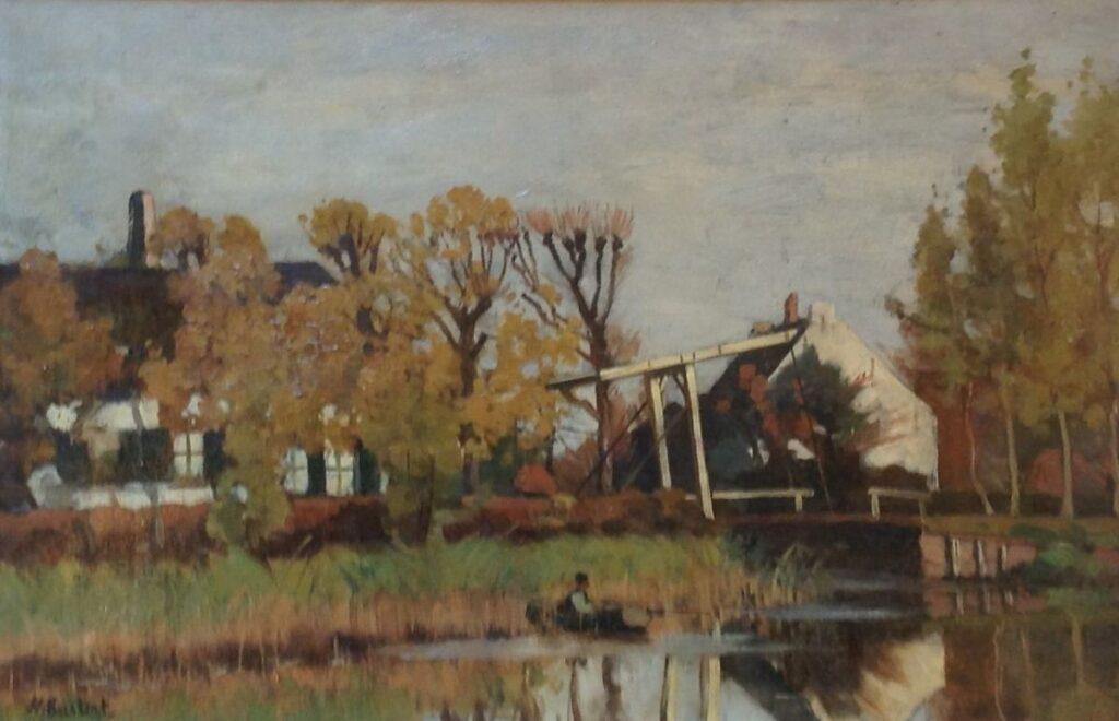 Kunstenaar Nicolaas Bastert C465 Nicolaas Bastert De Mijndense Sluis Olie op doek, 40 x 60 cm l.o. gesigneerd verkocht