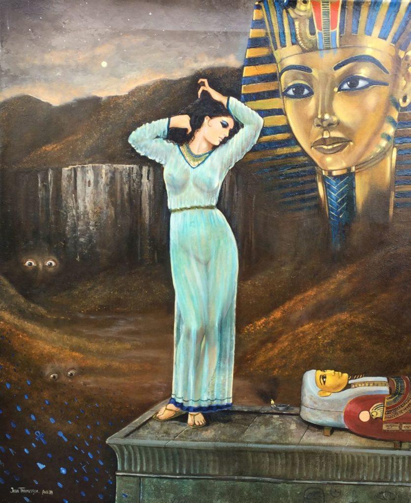 Schilderijen te koop van kunstschilder Jean Thomassen Voice of Egypt (nummer onbekend) olie op doek, 60 x 50 cm linksonder gesigneerd en gedateerd 89, Expositie Galerie Wijdemeren Breukeleveen