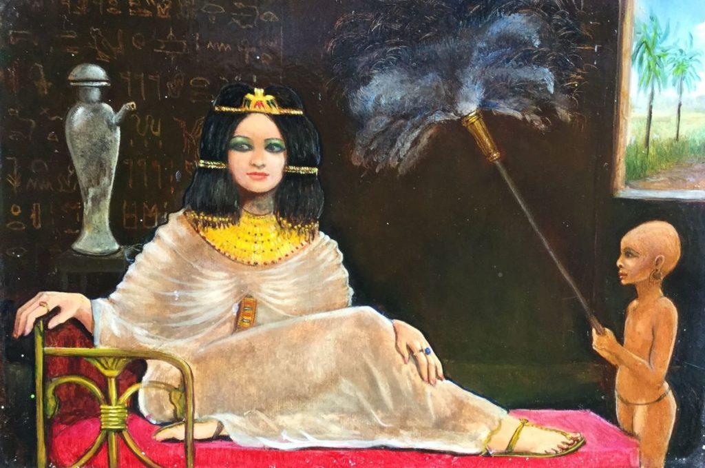 Schilderijen te koop van kunstschilder Jean Thomassen Egyptische vrouw met dienaar olie op paneel, 12 x 16.5 cm linksboven gesigneerd, Expositie Galerie Wijdemeren Breukeleveen