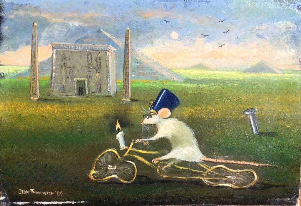 Schilderijen te koop van kunstschilder Jean Thomassen Rat in Egyptisch landschap maroufle, 12 x 17 cm linksonder gesigneerd en gedateerd 89, Expositie Galerie Wijdemeren Breukeleveen