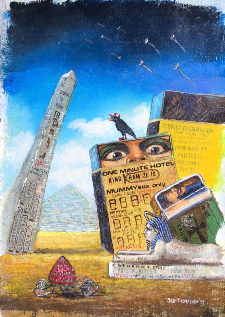 Schilderijen te koop van kunstschilder Jean Thomassen Egypt maroufle, 17 x 12 cm rechtsonder gesigneerd en gedateerd 90, Expositie Galerie Wijdemeren Breukeleveen