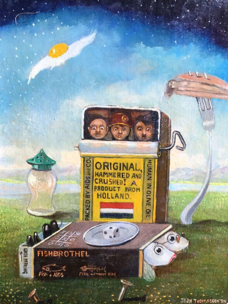 Schilderijen te koop van kunstschilder Jean Thomassen Breakfast in Holland maroufle, 15 x 11.5 cm rechtsonder gesigneerd en gedateerd 89, Expositie Galerie Wijdemeren Breukeleveen