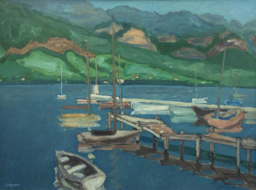 Schilderijen te koop van kunstschilder Ronald Lindgreen Jachthaven les Marquilsats te Annecy olie op doek, doekmaat 60 x 80,5 cm linksonder gesigneerd, Expositie Galerie Wijdemeren Breukeleveen