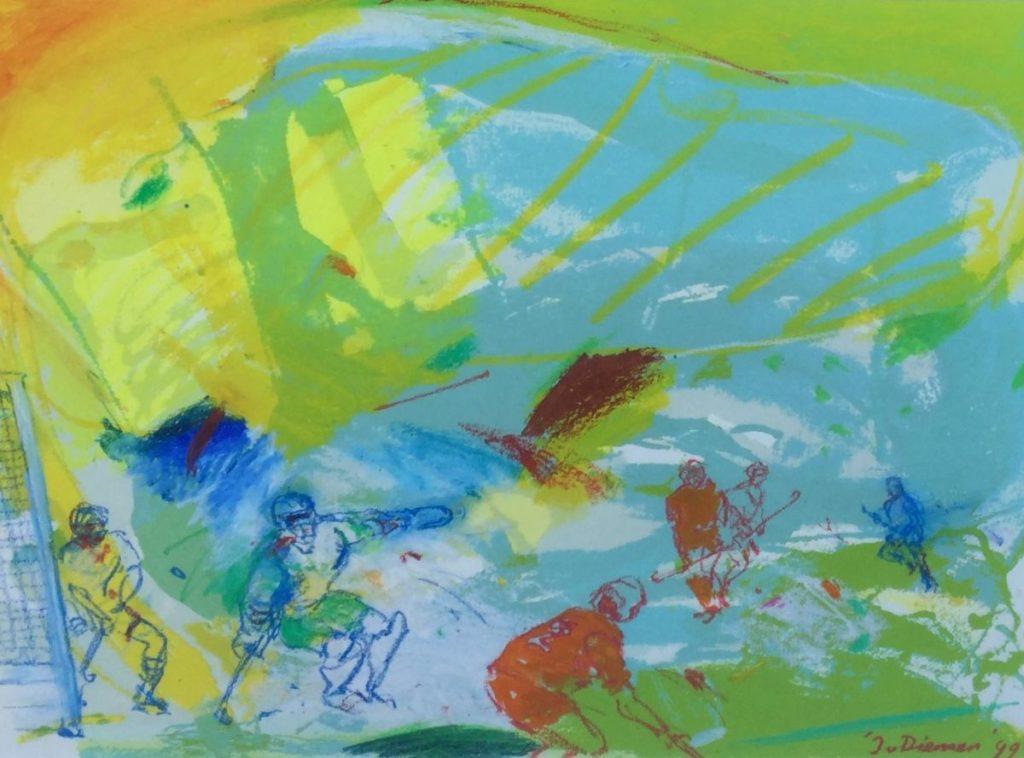 Schilderijen te koop van kunstschilder Jan van Diemen de Hockeywedstrijd, gouache, rechtsonder handgesigneerd en gedateerd 99, Expositie Galerie Wijdemeren Breukeleveen