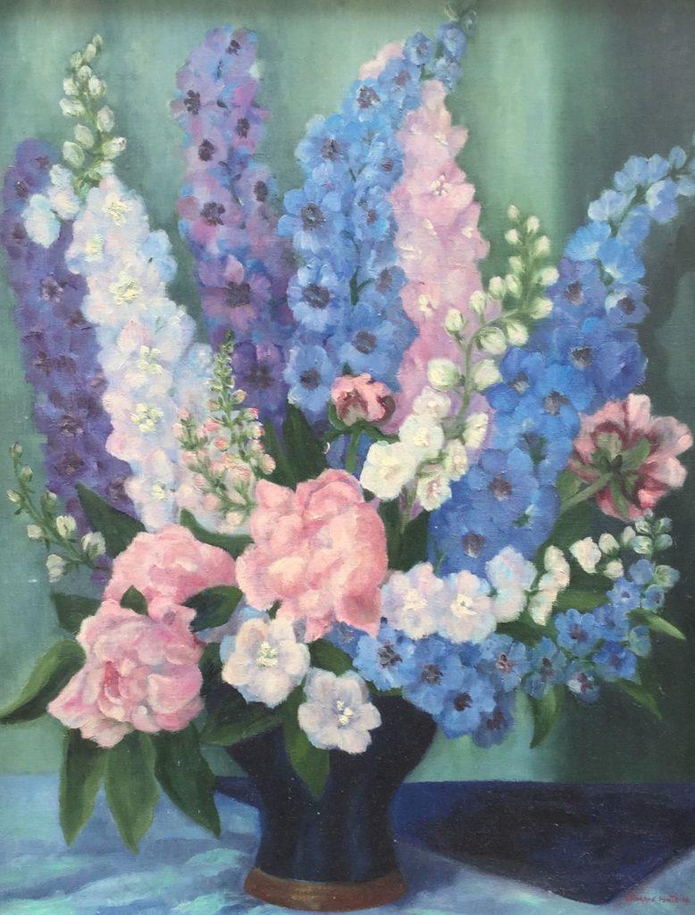Schilderijen te koop van kunstschilder H. Rogaar Fontein Bloemstilleven met Lupines olie op doek, 70 x 55.5 cm r.o. gesigneerd, Expositie Galerie Wijdemeren Breukeleveen