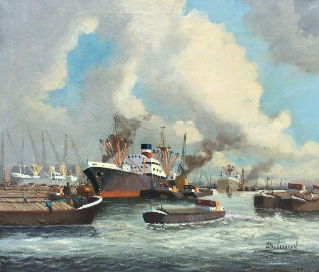 C4674-5, Adri Verveen Rotterdam haven Olie op doek, doekmaat 50.5 x 60.5 cm Rechtsonder gesigneerd Verkocht