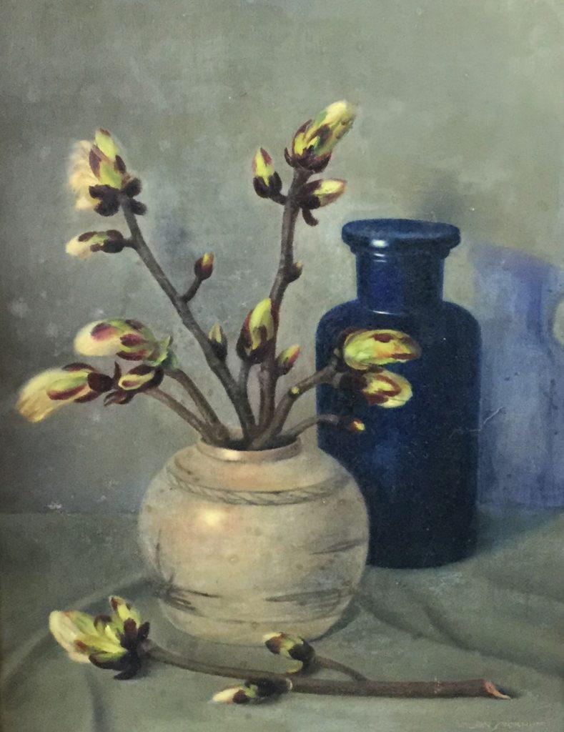 Kunstenaar Johannes Leonardus (Jan) Stokhof C4684A Jan Stokhof Stilleven, gemberpot met bloesemtak olie op doek, 50,5 x 40,5 cm r.o. gesigneerd verkocht