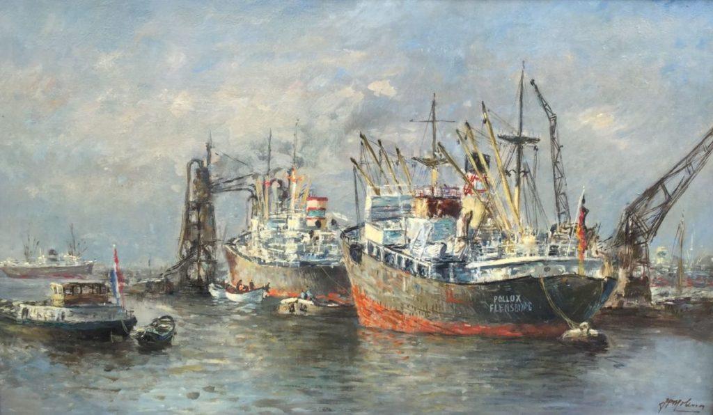 Schilderijen te koop van kunstschilder Joop Molenaar Havengezicht olie op doek, doekmaat 60 x 101 cm rechtsonder gesigneerd, Expositie Galerie Wijdemeren Breukeleveen