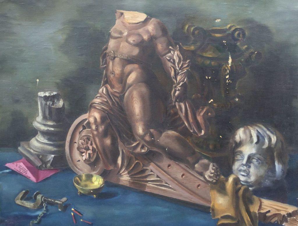 Schilderijen te koop van kunstschilder René P Tonneyck Stilleven met beeldhouwwerken olie op doek, , doekmaat 70 x 90 cm linksonder in voorstelling gesigneerd, Expositie Galerie Wijdemeren Breukeleveen