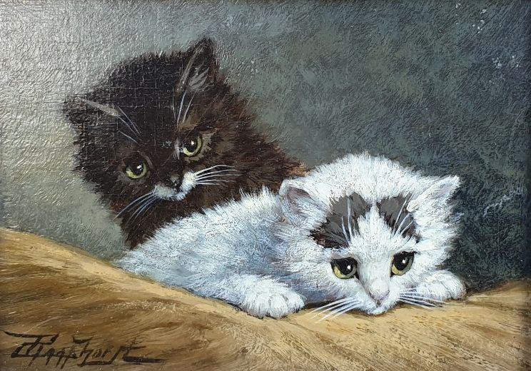 Schilderijen te koop van kunstschilder Cornelis Raaphorst Twee kittens olie op paneel, paneelmaat 13.5 x 18.5 cm linksonder gesigneerd, Expositie Galerie Wijdemeren Breukeleveen