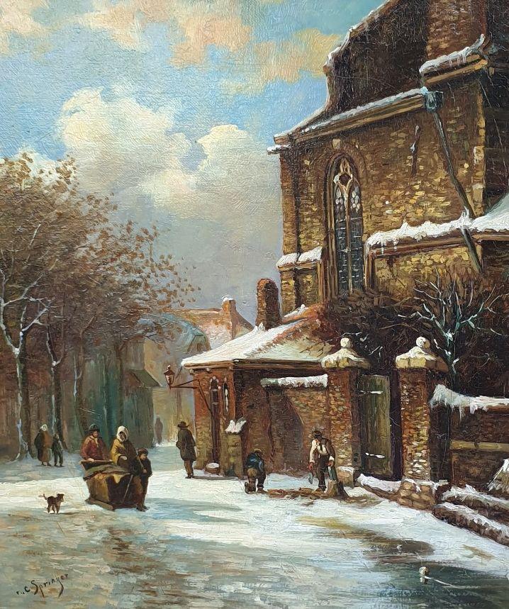 schilderijen te koop , Stadsgezicht naar Cornelis Springer Olie op doek, doekmaat 38.5 x 32.5 cm linksonder gesigneerd, expositie, galerie wijdemeren breukeleveen
