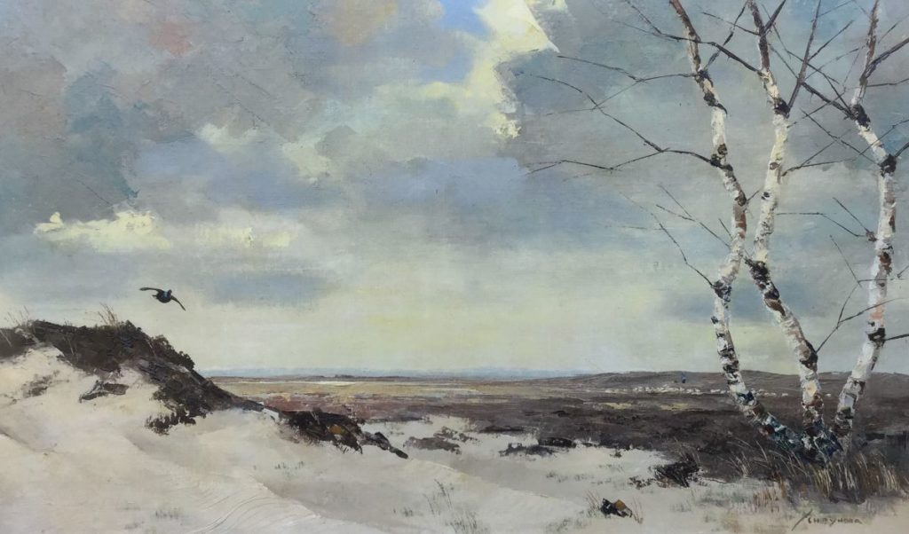 Schilderijen te koop van kunstschilder Jo Schrijnder Duinlandschap met opvliegende korhoen olie op doek, rechtsonder gesigneerd, Expositie Galerie Wijdemeren Breukeleveen