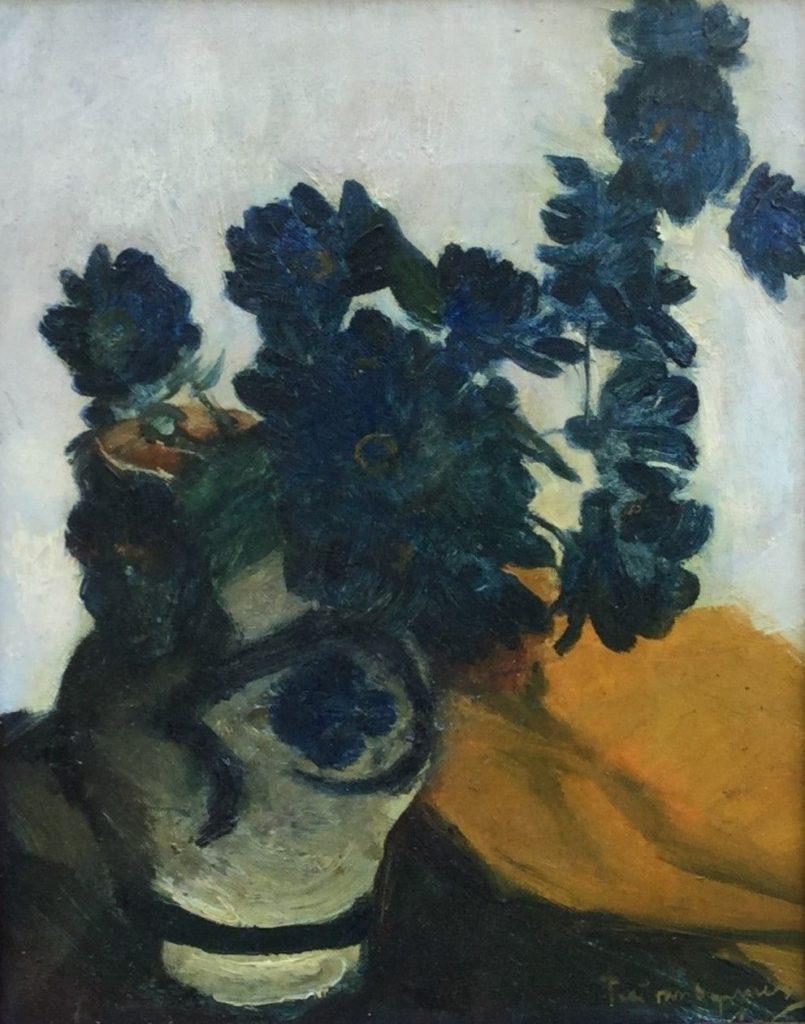 Kunstenaar Piet T. van Wijngaerdt C4693 Piet van Wijngaerdt bloemstilleven in Keulse kan olie op doek r.o. gesigneerd verkocht