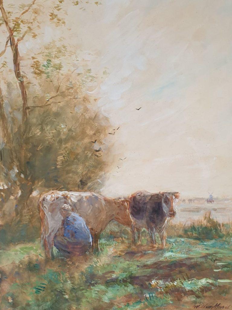 Schilderijen te koop van kunstschilder Willem Maris Melkende boer met koeien in weidelandschap aquarel, beeldmaat 35 x 45 cm rechtsonder gesigneerd, Expositie Galerie Wijdemeren Breukeleveen