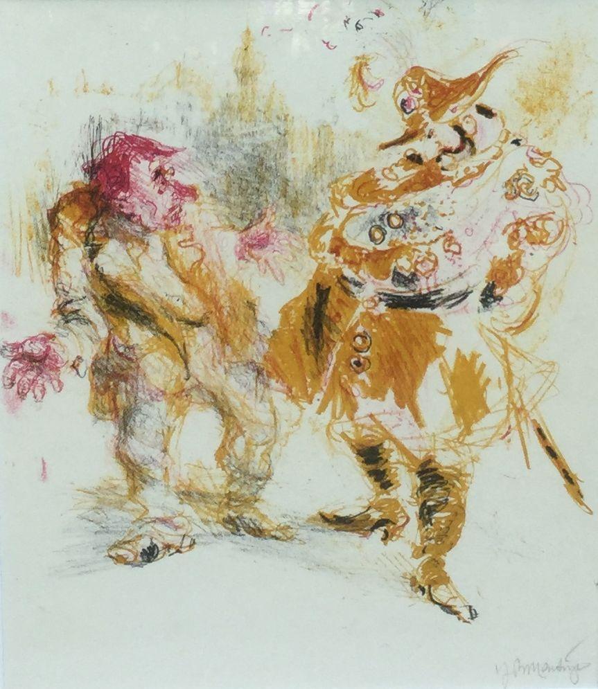 Kunstenaar  C4701-3 Jan Roelf Mensinga ontkenning kleurenlitho, beeldmaat 31 x 25.5 cm rechtsonder gesigneerd