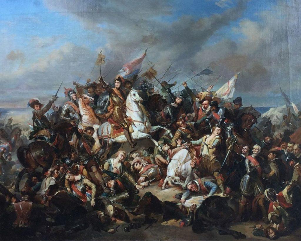 Schilderijen te koop, kunstschilder JC Leich, 19de eeuw Slag bij Nieuwpoort olie op doek, doekmaat 73.5 x 92 cm Rechtsonder gesigneerd, expositie Galerie Wijdemeren Breukeleveen