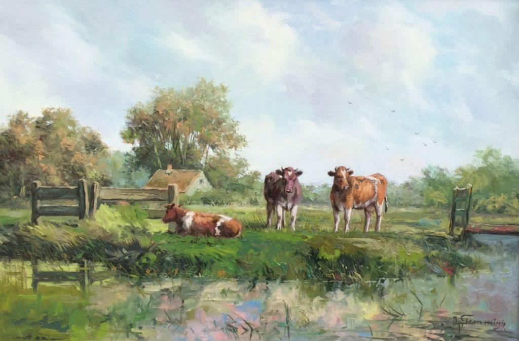 Kunstenaar Albert Temming C4709 Albert Temming Koeien aan de waterkant Olie op doek, 40.5 x 60 cm rechtsonder gesigneerd verkocht