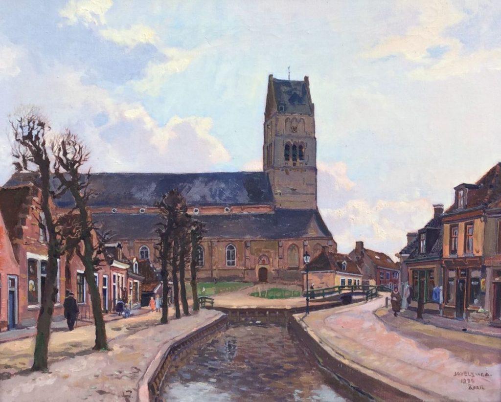 Schilderijen te koop, kunstschilder Johannes Elsinga, Stadsgezicht Bolsward met zicht op de Martinikerk olieverf op doek, 40.5 x 50.5 cm rechtsonder gesigneerd en gedateerd april 1935, c4711, Expositie Galerie Wijdemeren Breukeleveen