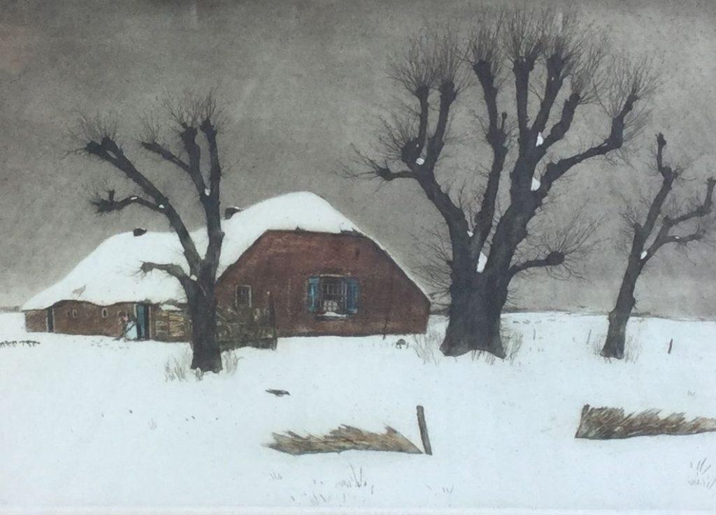 Schilderijen te koop van kunstschilderTjeerd Bottema Wintergezicht bij Laren (de hut van Mie) kleurenets, beeldmaat 31 x 40 cm rechtsonder gesigneerd, Expositie Galerie Wijdemeren Breukeleveen