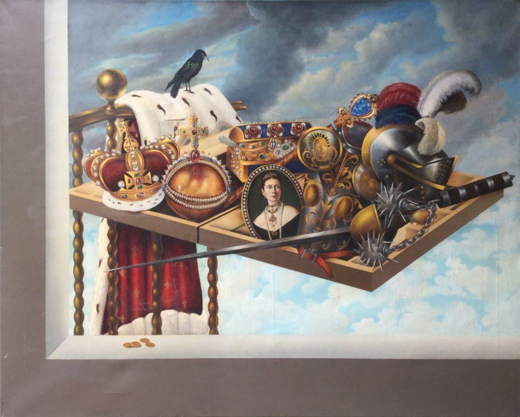 C4723 Hans Verhoef Stilleven met schaakbord, spreeuw en rijke objecten Doekmaat 100 x 125 cm Gelijst in plexiglaslijst. linksonder gesigneerd, schilderijen te koop bij galerie wijdemeren breukeleveen