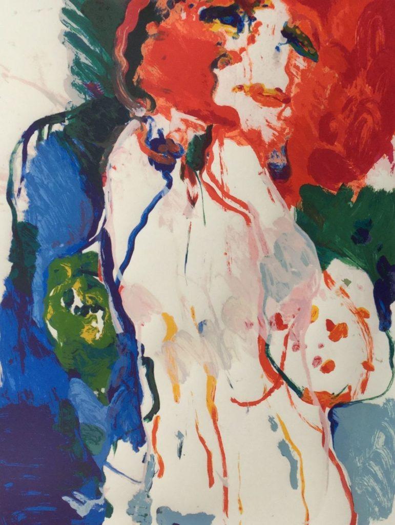 C4724-1 Kees van Bohemen Vriendin zeefdruk, beeldmaat 65 x 50 cm oplage 41/225, gedateerd '77 rechtsonder gesigneerd, kunst te koop bij galerie wijdemeren breukeleveen