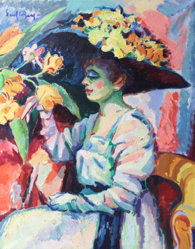 C4724-2 Freek van den Berg Dame met hoed Olieverf op doek, 80 x 100 cm linksboven gesigneerd, schilderijen te koop bij galerie wijdemeren breukeleveen