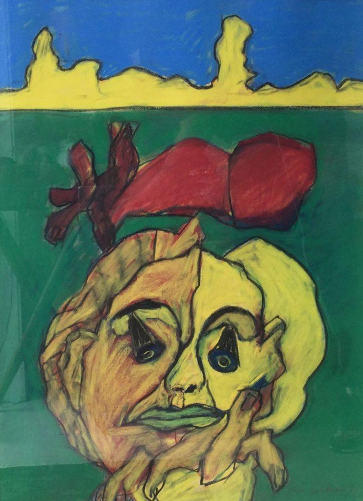 C4724-5 Jan Sierhuis Geabstraheerde figuur Pastel op papier beeldmaat 74 x 54 cm rechtsonder gesigneerd, schilderijen te koop bij galerie wijdemeren breukeleveen