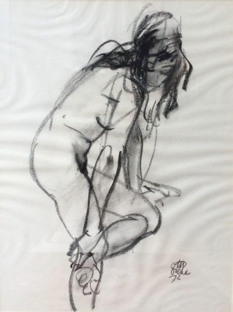 C4724-8 Dicke Otto Naaktmodel Krijttekening, 50 x 65 cm gesigneerd en gedateerd, 1973, schilderijen te koop bij galerie wijdemeren breukeleveen