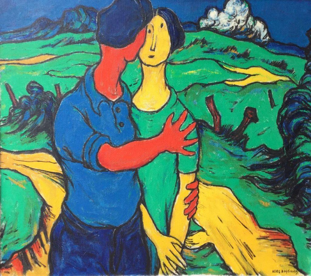 C4724-9 Kees Bastiaans De ontmoeting Olieverf op doek, 80 x 90 cm werk uit jaren '60 rechtsonder gesigneerd, schilderijen te koop bij galerie wijdemeren breukeleveen