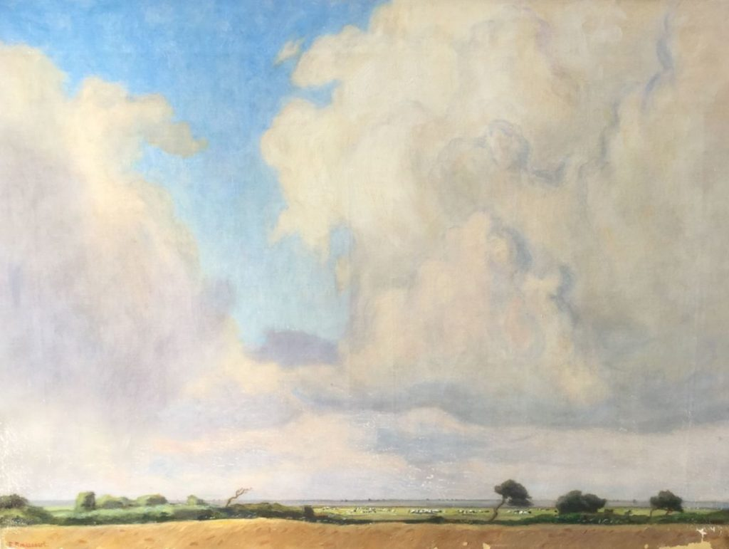 Kunstenaar Frans Smissaert C4725-1 Frans Smissaert Gezicht op weidelandschap met koeien olie op doek, doekmaat 63 x 85 cm linksonder gesigneerd