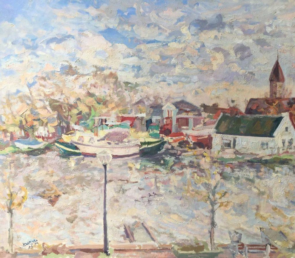 schilderijen te koop van kunstschilder, Amstelhoek olie op doek, linksonder gesigneerd Kattinka en gedateerd 82