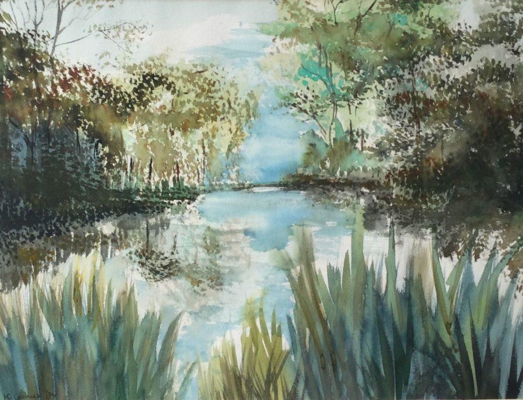 Kunstenaar Karel  Gomes C4725-5 Karel Gomes plasgezicht aquarel, beeldmaat 43.5 x 58.5 cm linksonder gesigneerd en gedateerd, K. Gomes, '84