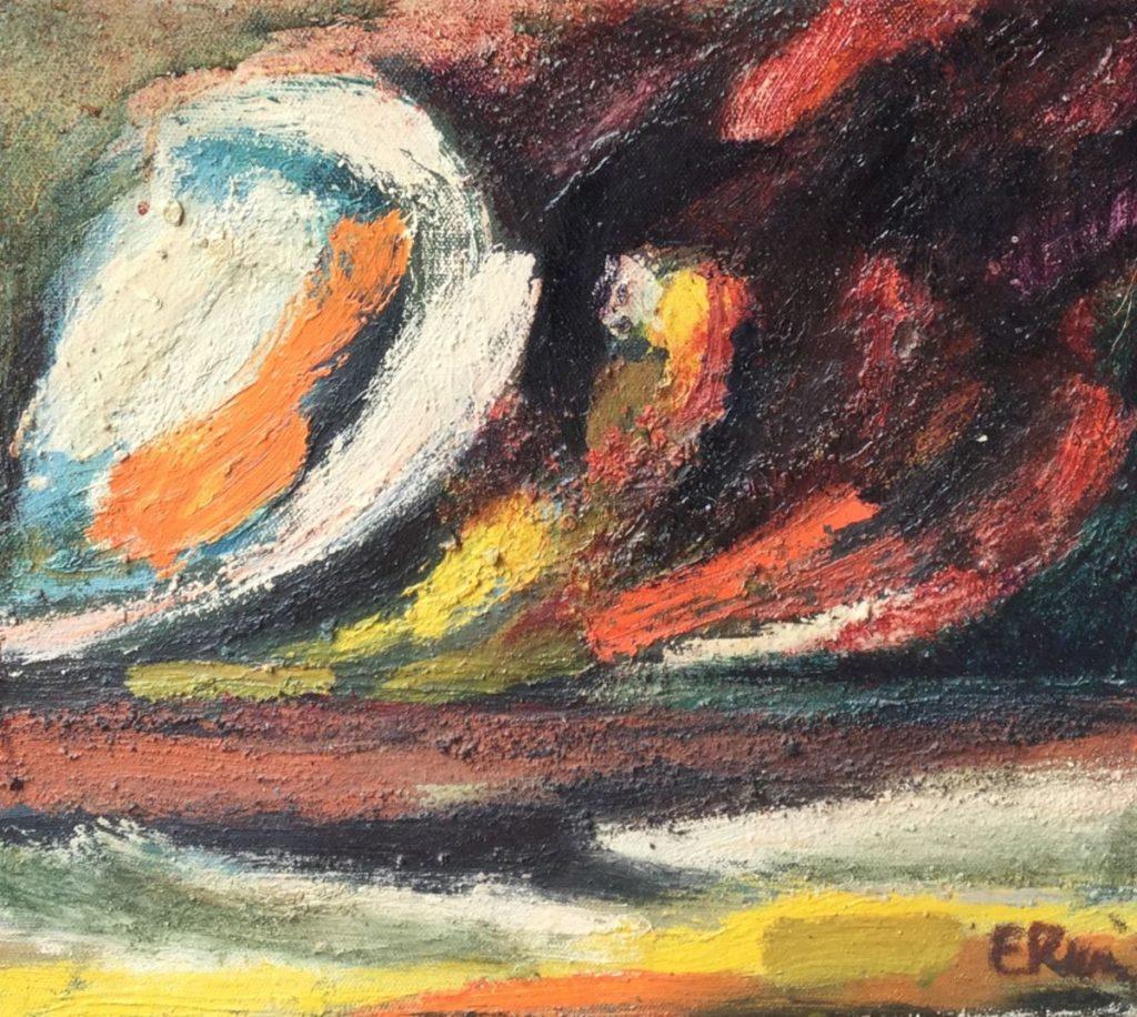 Kunstenaar Erwin de Vries C4725-6 Erwin de Vries Abstracte voorstelling olie op doek, doekmaat 45.5 x 50 cm rechtsonder gesigneerd Erwin (is de maker van het Slavenmonument)