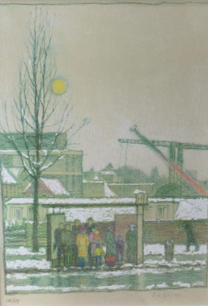 Schilderijen te koop, kunstschilder Aat Veldhoen In de bushalte litho, beeldmaat 62 x 42 cm rechtsonder handgesigneerd oplage 136 van 250, Expositie Galerie Wijdemeren Breukeleveen