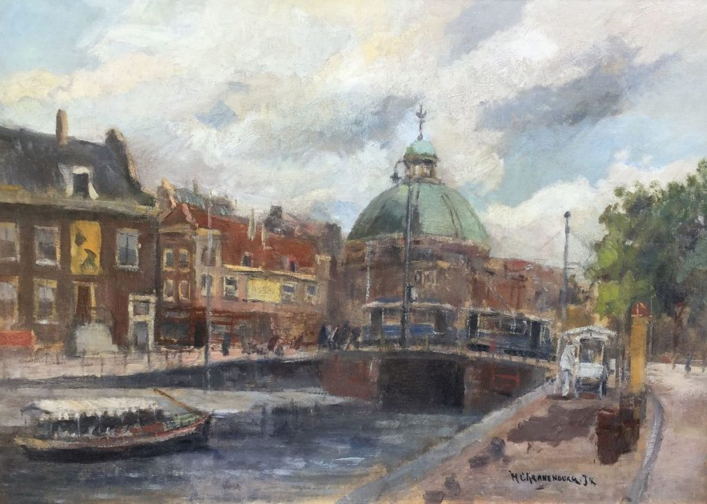 schilderijen te koop van kunstschilder, H.C. Kranenburg Nicolaaskerk te Amsterdam olie op doek, gesigneerd, expositie, galerie wijdemeren breukeleveen