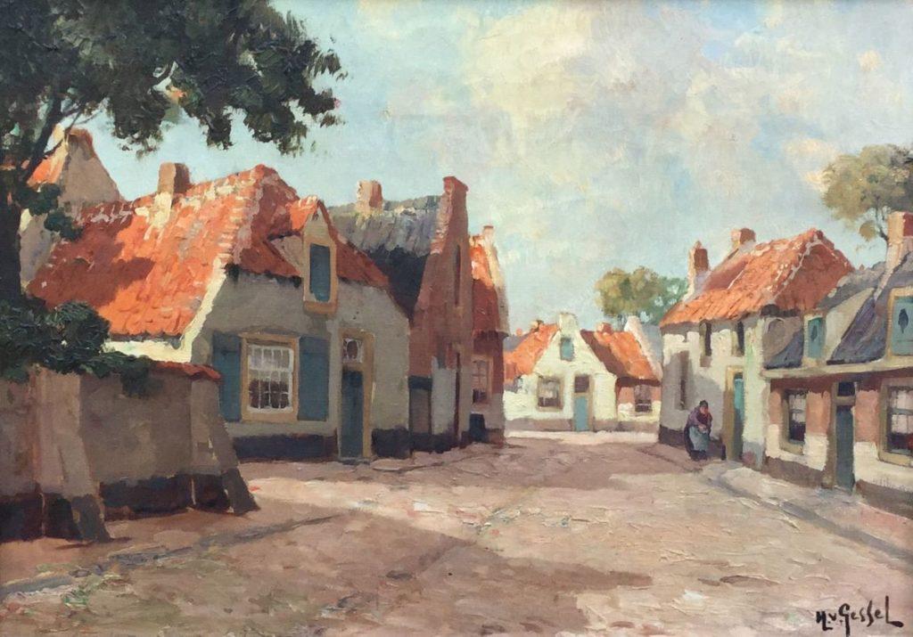 Schilderijen te koop van kunstschilder G.J. Delfgaauw onder pseudoniem H. van Gessel Dorpsstraatje olie op doek, 35 x 50 cm rechtsonder H. v. Gessel gesigneerd, Expositie Galerie Wijdemeren Breukeleveen