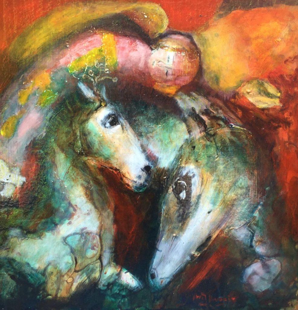 Schilderijen te koop, Marjan Kwaaitaal paarden olie op board, boardmaat 50 x 50 cm, expositie Galerie Wijdemeren Breukeleveen