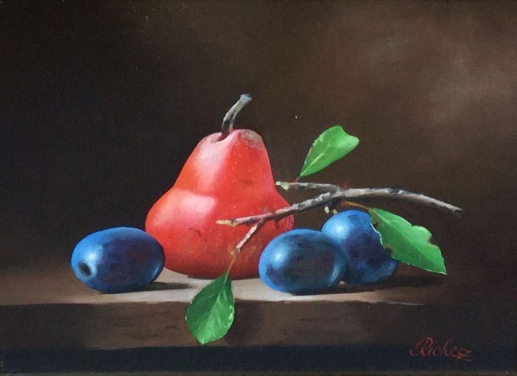 Schilderijen te koop, kunstschilder Richez stilleven met fruit olie op doek, doekmaat 22 x 27 cm, expositie Galerie Wijdemeren Breukeleveen