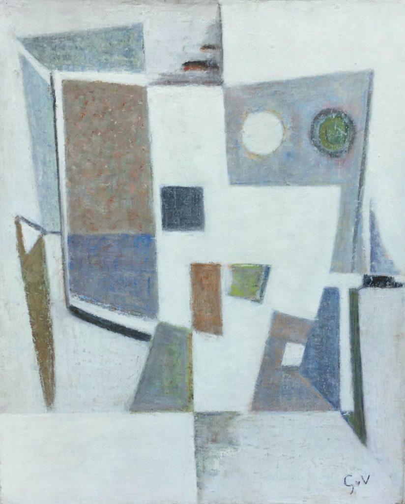 C4740 Geer van Velde olie op doek, 38 x 48 compositie, 1956 ro. monogram, Schilderijen te koop bij Galerie Wijdemeren Breukeleveen