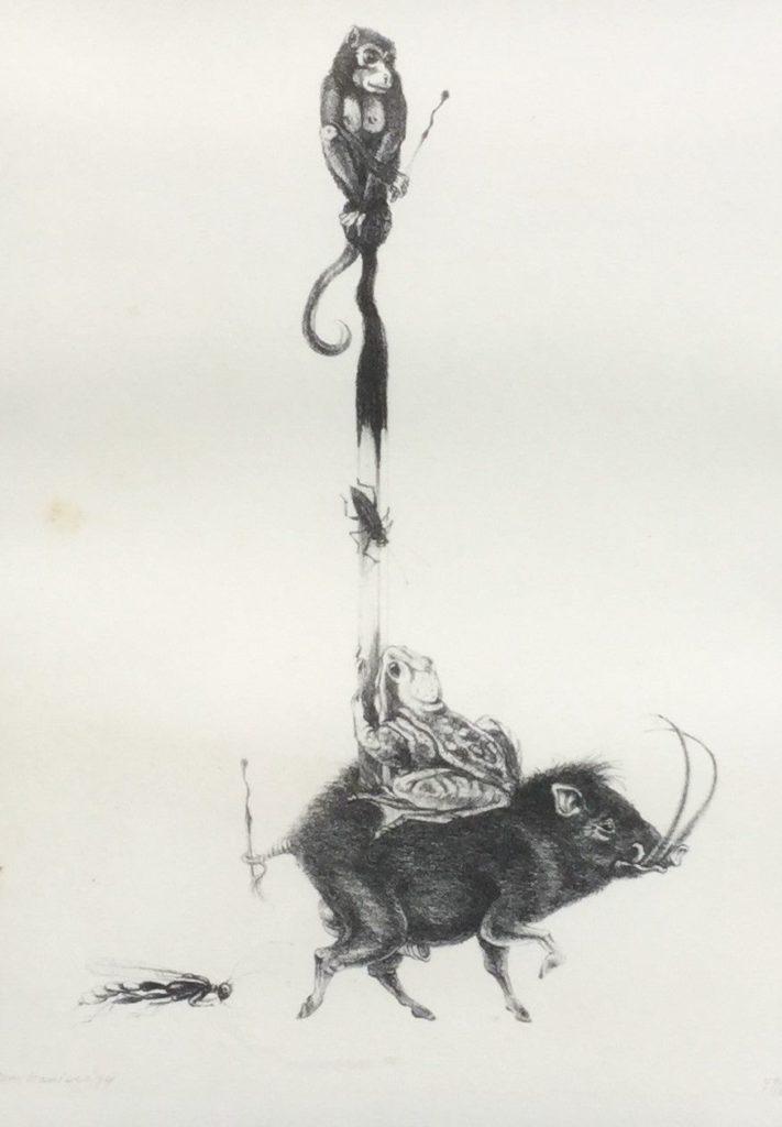 Schilderijen te koop, kunstschilder Hans Kanters Toren van dieren litho (steendruk), beeldmaat 34.5 x 24.5 cm oplage 47/100, linksonder gesigneerd en gedateerd 79, expositie Galerie Wijdemeren Breukeleveen