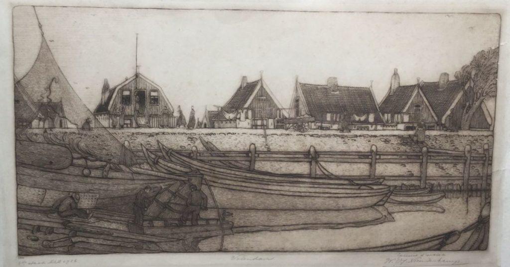 Schilderijen te koop van kunstschilder W.M. Nieuwenkamp Volendam ets, beeldmaat 23 x 42 cm rechtsonder handgesigneerd, Expositie Galerie Wijdemeren Breukeleveen