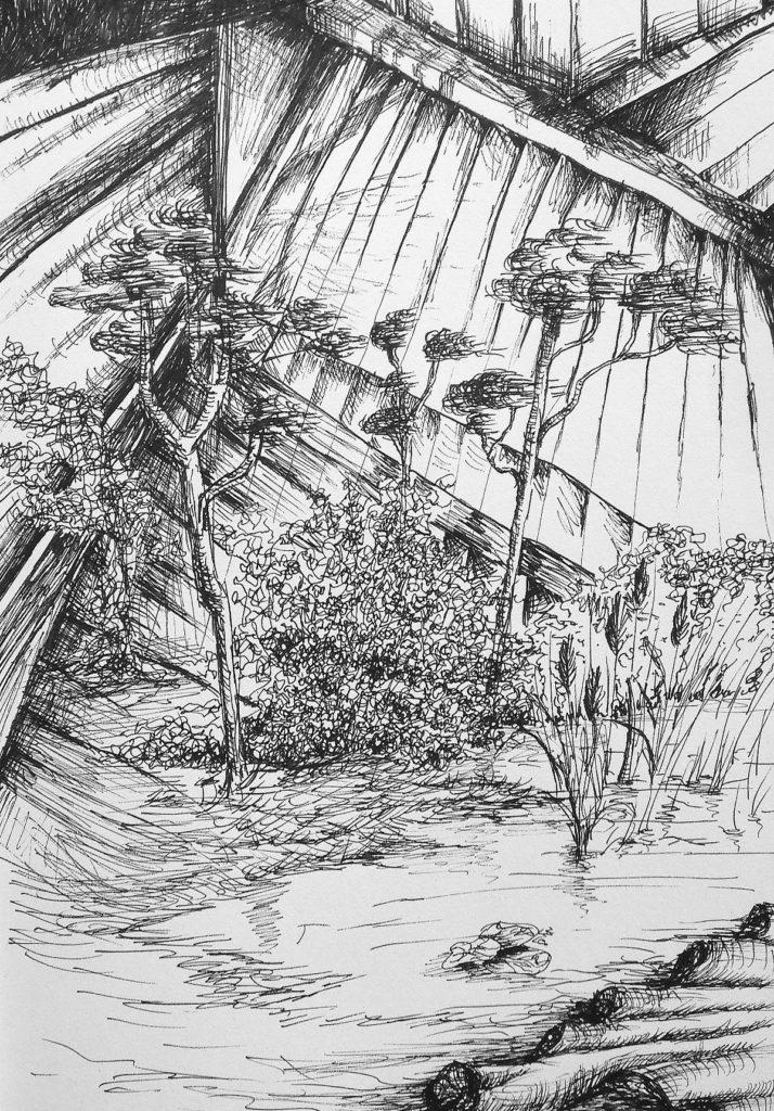 C4744-5 Salam Kadhim Untitled I (2016) artprint pentekening verlijmd op dibond, 60 x 80 cm, oplage 5 verso gesigneerd, kunst te koop bij Galerie Wijdemeren Breukeleveen