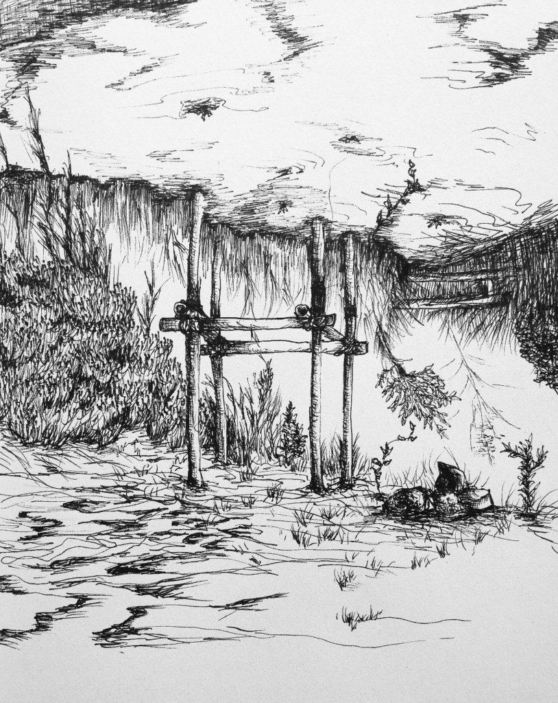 C4744-6 Salam Kadhim Untitled II (2016) artprint pentekening verlijmd op dibond, 60 x 80 cm, oplage 5 verso gesigneerd, kunst te koop bij Galerie Wijdemeren Breukeleveen