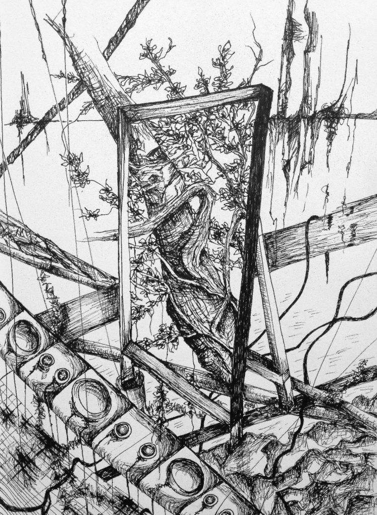 C4744-7 Salam Kadhim Untitled III (2016) artprint pentekening verlijmd op dibond, 60 x 80 cm, oplage 5 verso gesigneerd, kunst te koop bij Galerie Wijdemeren Breukeleveen