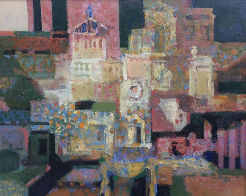 Schilderijen te koop van kunstschilder Wim van Aken Byzantijnse stad olie op doek, 85 x 105 cm rechtsonder gesigneerd en gedateerd 1991, Expositie Galerie Wijdemeren Breukeleveen