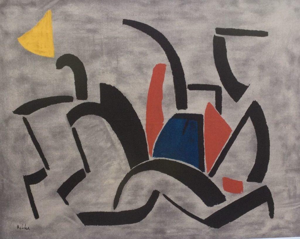 Schilderijen te koop, kunstschilder Toon Kelder Abstracte voorstelling litho op zijde, beeldmaat 48 x 60 cm linksonder gesigneerd, expositie Galerie Wijdemeren Breukeleveen