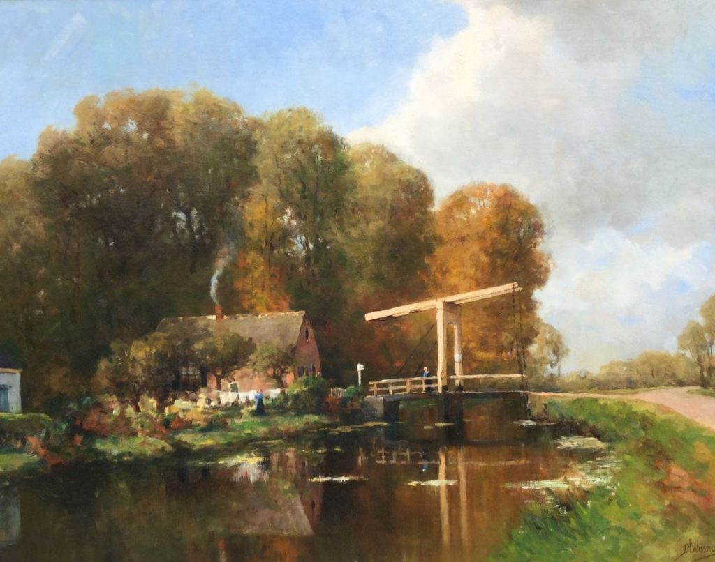 Schilderijen te koop van kunstschilder J.H. Wijsmuller Boerderij aan een vaart olie op doek, 81 x 103 cm rechtsonder gesigneerd, Expositie Galerie Wijdemeren Breukeleveen