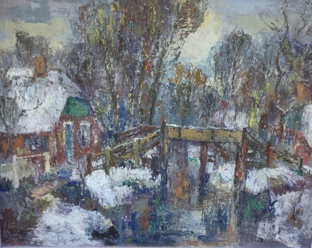 Schilderijen te koop, kunstschilder Piet Zwiers Dorpsgezicht langs de vaart olie op doek, doekmaat 80 x 100 cm rechtsonder gesigneerd, expositie Galerie Wijdemeren Breukeleveen
